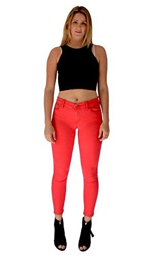 Lunghezza Ritagliata Donna Jeans Stretta Alta Vita Con A Rosso Gamba Da Aderenti Corta Color Pastello 77PnaZrq