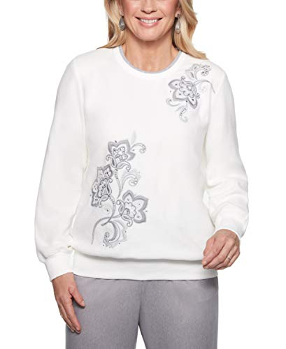 Alfred Dunner Women's Stocking Stuffers Floral Embroidered Top -