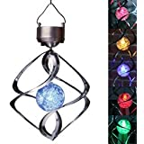 Lightahead® Spiral Spinner Solar Wind Chime with Glowing Magic Ball - Portable Outdoor Decorative Romantic Solar Powered WindChime Light