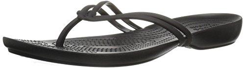 Crocs Womens Isabella Flip Flop Sandal Shoes, Black/Black, US 4