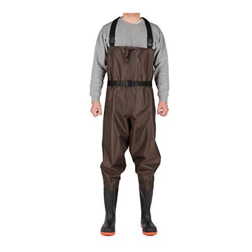 CKd G1 Bootfoot Chest Wader, Nylon & PVC Double Layers, Fishing & Hunting Waterproof Coating Fabric, Cleated Outsole with Steel Plate, High Elasticity Suspender with Buckles, Unisex (Brown, M9/W10)