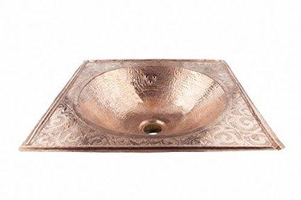 Lavabo da bagno quadrato in rame rosso fatto a mano marocchino