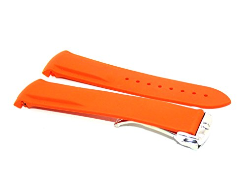 20mm Orange Rubber Strap with Stainless Steel Clasp MADE TO FIT TO Omega Planet Ocean - Omega Rubber Band