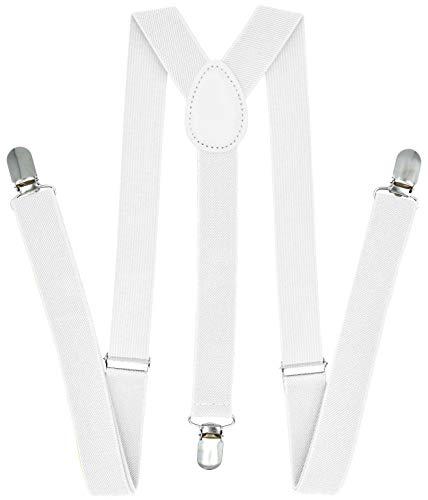 White Costumes Suspenders - Trilece Suspenders for Men - Adjustable