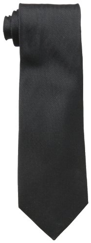 Calvin Klein Men's Silver Spun Solid Tie, Black, Regular