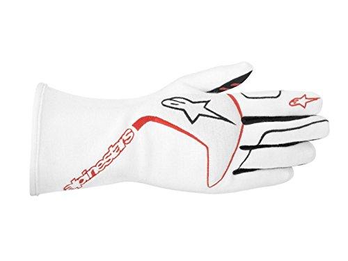 ALPINESTARS TECH 1 RACE GLOVES - WHITE/RED/BLACK - SIZE M - SFI 3.3 LEVEL 5/FIA 8856-2000