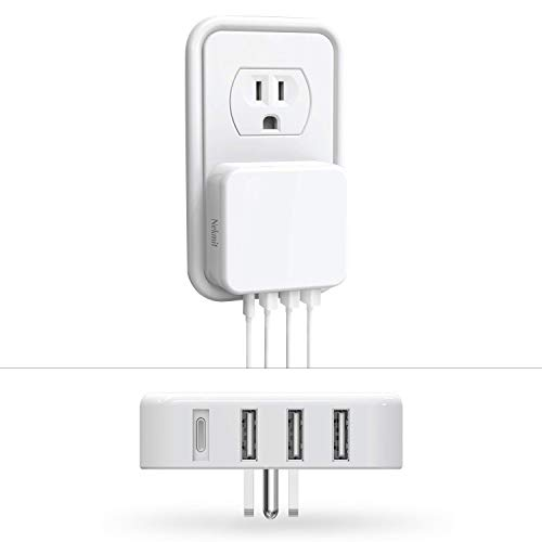 Nekmit USB C Charger, Thin Flat 35W 4-Port Wall Charger with One 18W Power Delivery PD 3.0 and 3 USB Port, White