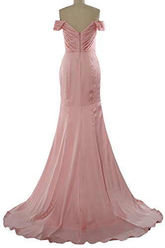 Dress Evening Flowers 2018 Long Women with MACloth Gown Off Fuchsia Prom Formal Shoulder xq8w0zx4pI