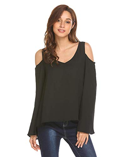 Shirts Monocromo Casual Blouse Neck Maniche Primaverile Schwarz Bluse Eleganti Donna Fashion Camicetta Relaxed Estivi V off Shoulder Chic Ragazza Lunghe Leggero 6qfTvfw