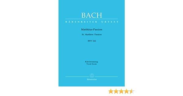 St Matthew Passion Vocal Score New Novello Choral Edition