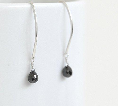 Black Diamond Teardrop Earrings - Argentium Sterling Silver Dangle Earrings - April Birthstone - Black Gemstone Earrings -