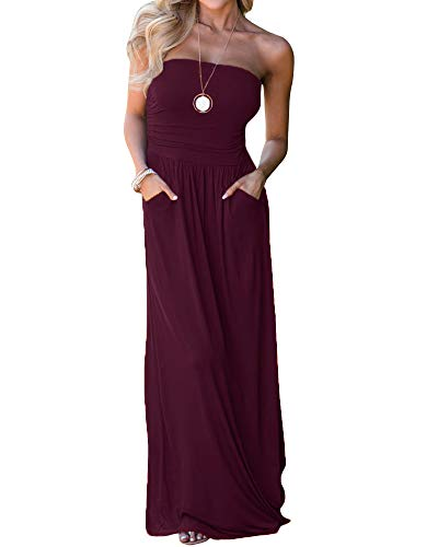 - Ofenbuy Womens Off The Shoulder Maxi Dresses Summer Strapless Bandeau Long Dress with Pockets Wine Red