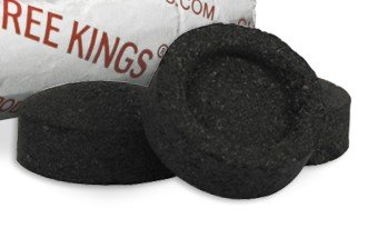THREE KINGS 33MM CHARCOAL BOX: SUPPLIES FOR HOOKAHS – 100pc box of Quick-light shisha coals for hookah pipes. These Easy Lite coal accessories & parts are instant lighting when using a torch lighter.