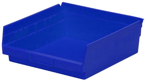 Akro-Mils 30170 12-Inch by 11-Inch by 4-Inch Plastic Nesting Shelf Bin Box, Blue, Case of 12 ()