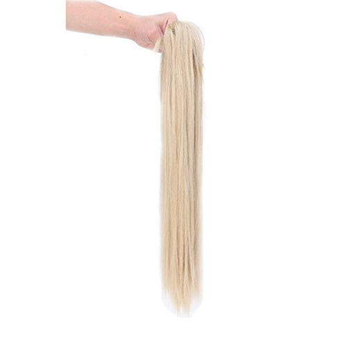 - Synthetic Claw Ponytail Heat Resistant Handy Jaw Pony Tail One Piece Long Straight Soft Silky for Women Lady Girls 26'' / 26 inch (baby blonde mix bleach blonde)