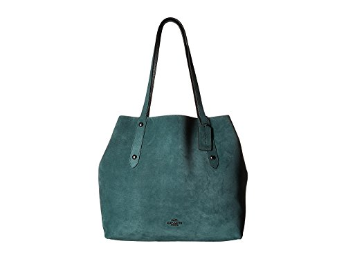 Leather Suede Tote (COACH Women's Suede Large Market Tote Dk/Dark Turquoise/Black One Size)