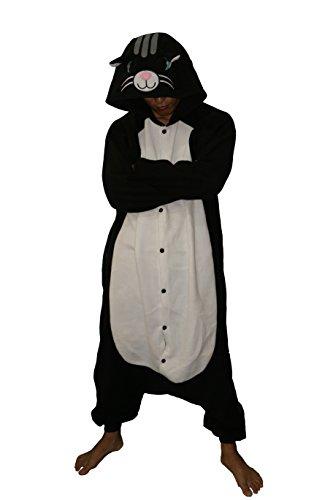 Cat Costume Without Tail (COCOPLAY Unisex Adult Cartoon Animal Black Cat Pyjamas Onesie Anime Sleepwear Cosplay Costume)