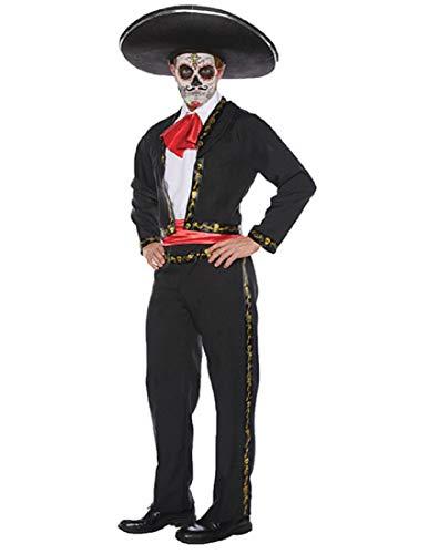Underwraps Men's Day of The Dead Gold Ribbon Sugar Skull Mariachi Costume, Black, One ()