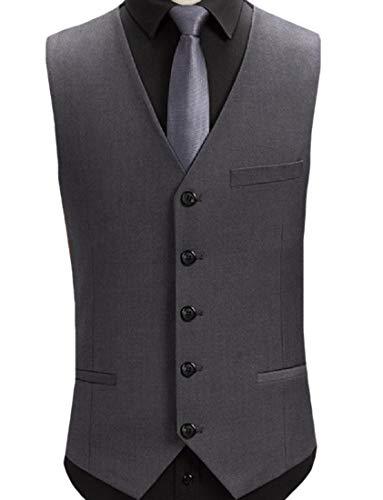 Zimaes-Men Slimming Gentleman V Neck Easy Care Dress Waistcoat 4 XS