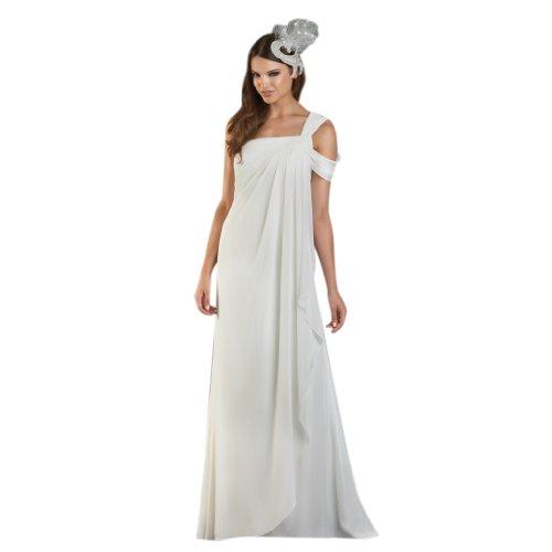 Kleidungen Elfenbein Schulter A Linie Abendkleider 1 Dearta Chiffon Damen Bodenlang Aermellos wqZCAA