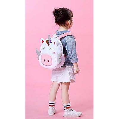 RUN children's backpack children's bag plush animal cute plush little girl boy animal backpack lunch box tote bag (white): Toys & Games