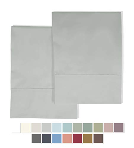 Pizuna 400 Thread Count Cotton King Pillowcases Light Grey, 100% Long Staple Cotton Soft & Cool Satin Pillowcase with Stylish 4 Hem, Set of 2 Pillow Covers (Silver Gray King 100% Cotton Pillow Cases)