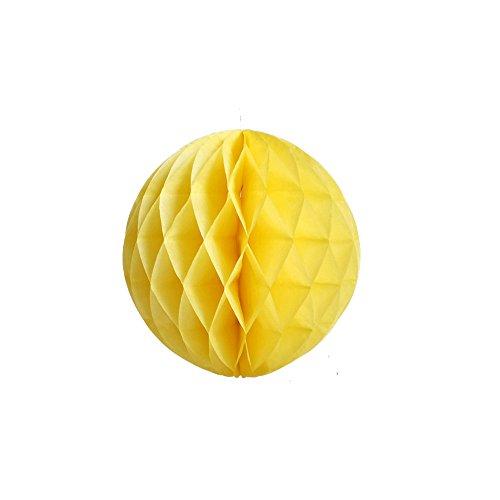 Daily Mall 10Pcs 8 inch Art DIY Tissue Paper Honeycomb Balls Party Partners Design Craft Hanging Pom-Pom Ball Party Wedding Birthday Nursery Decor (Yellow)