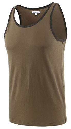 Vetemin Mens Premium Basic Solid Vintage Athletic Jersey Tank Top Casual Shirts Army/H.Charcoal -