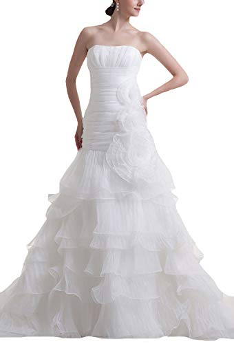 JOYNO BRIDE Flower Strapless Organza Court Train Tiered Mermaid Wedding Dresses(10,White)