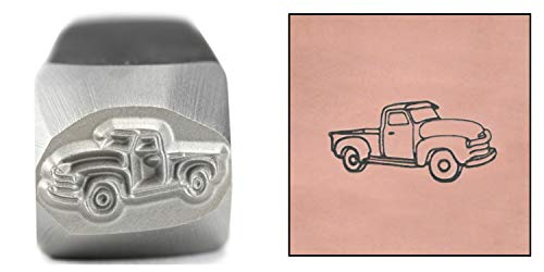 (Truck Metal Design Stamp, 11mm Old School Vintage Classic American Chevy Chevrolet Ford Farmers Pickup Punch Stamping Tool for Hand Stamped DIY Jewelry Crafts - Beaducation Original Metal Design Stamp)