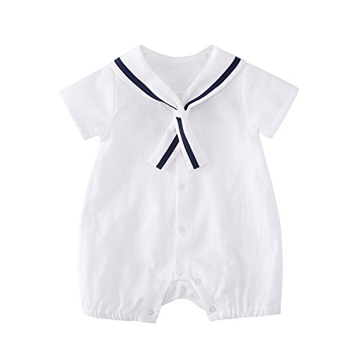 Christening Sailor Suit - pureborn Baby Boys Marine Sailor Short Sleeve Collar Romper Summer Costumes Breathable Muslin Cotton White 3-6 Months