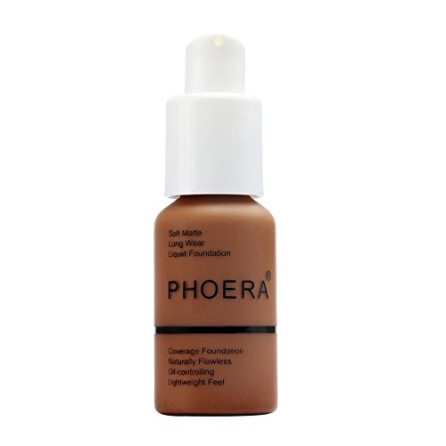 - New 30ml PHOERA Matte Oil Control Concealer Liquid Foundation Cream Long Lasting Waterproof Cover Full Coverage Soft Brighten Long Wear Lightweight Feel Naturally Flawless All Day (110)