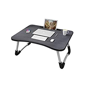 MemeHo Smart Multi Purpose Laptop Table with Dock StandStudy TableBed TableFoldable and PortableErgonomic Rounded EdgesNon Slip LegsEngineered Wood Black
