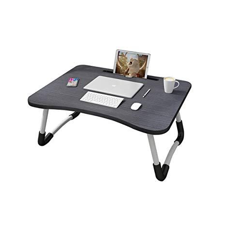 MemeHo Smart Multi Purpose Laptop Table with Dock StandStudy TableBed TableFoldable and PortableErgonomic Rounded EdgesNon Slip LegsEngineered Wood Black