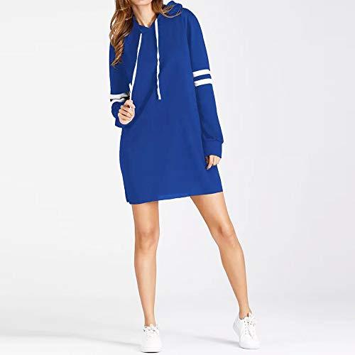 Pull Bleu Longues Pullover Capuche Long Sweat Manches Mode Roiper Pull New Femme Robe wqp7AzH