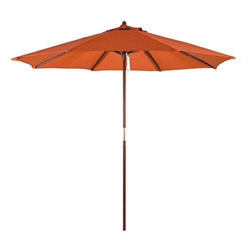 California Umbrella 9' Round Hardwood Frame Market Umbrella, Pulley Lift, Polyester (Sunbrella Beach Umbrellas)