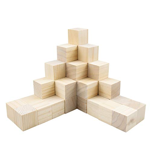 Tosnail 40 Pack 1.5 Inch Natural Solid Unfinished Pine Wood Blocks Wood Cubes - Great for Puzzle Making, Photo Blocks, Crafts and DIY Projects
