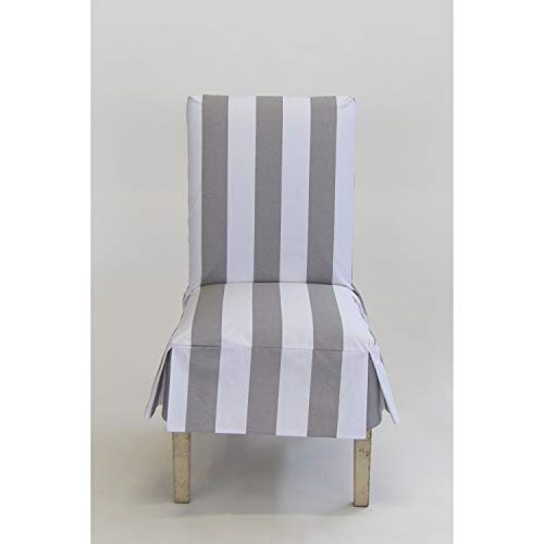 - Classic Slipcovers Cabana Stripe Short Dining Chair Covers Set of 2 Grey and White Stripe