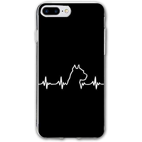 large-scale Pit Bull Heartbeat Compatible with iPhone 7/8 Plus Case Anti Drop Resistant Bumper Case Black TransparentOne Size