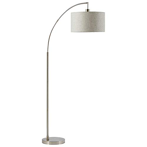 Rivet Modern Arc Floor Lamp with Bulb and Fabric Shade, 69 H, Steel