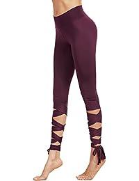 SweatyRocks Women Legging Cutout Tie Cuff Slim Yoga Pants...