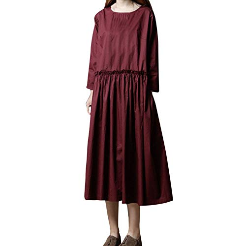 ANJUNIE Plus <br><br>Asian Size Maxi Shirt Dress, Women Long Sleeve Solid O-Neck Cotton and Linen Loose Comfy Long Dress(Red,M) -