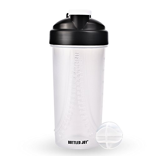 BOTTLED JOY Protein Shaker Bottle, Non-Toxic Wide Mouth 100% Leak Proof Shake Water Bottles 27oz 800ml (Zipper - Drink Sports Bottle Shaker