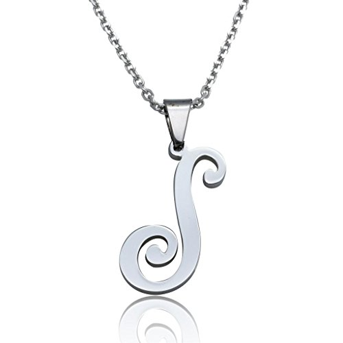 S necklace amazon funrun womens mens stainless steel initial letter pendant necklaceletter s aloadofball Choice Image