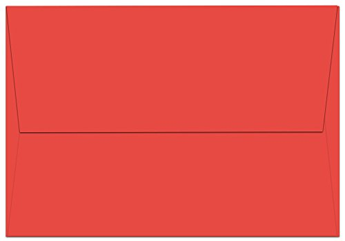 "100 Red A1 Envelopes - 5.125"" x 3.625"" - Square Flap"
