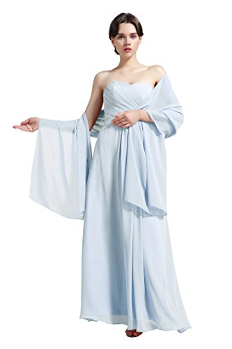 (Sheer Soft Chiffon Bridal Women's Shawl For Special Occasions Light Blue)