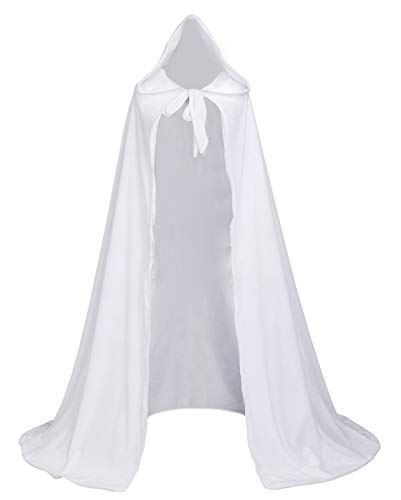 LuckyMjmy Velvet Renaissance Medieval Cloak Cape lined with Satin (Large, White)