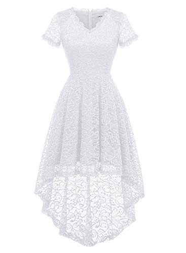 MODECRUSH Womens Ruffle Sleeve Formal Hi Low Floral Lace Cocktail Party Dresses L White