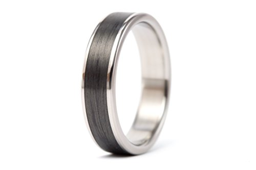 Men's titanium and carbon fiber ring . Unique black wedding band. Water resistant hypoallergenic. (00333_7N)