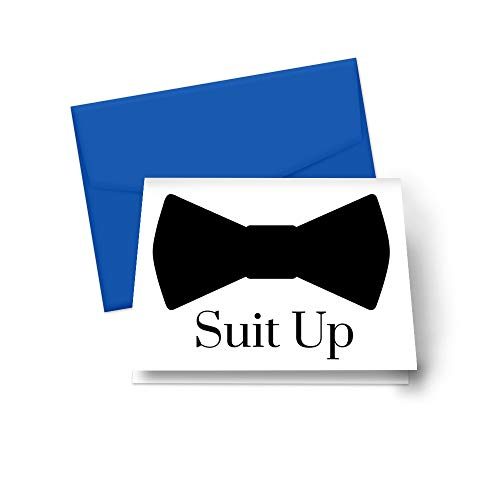Suit Up Cards for Asking My Groomsmen Best Man Proposal Set of 8 (Royal Blue Envelopes)